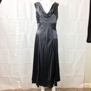 Banana Republic Silk Drape Midi Dress Black Sz 4
